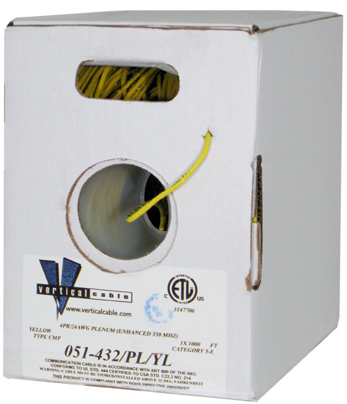 Cat5e UTP Plenum Yellow 051-432 PL YL 2